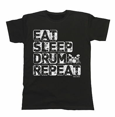 Eat Sleep Drum Repeat T-Shirt Boys Girls Kids Unisex Fit Drummer Music