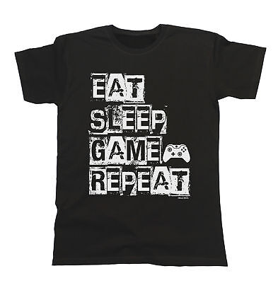 Eat Sleep Game Repeat T-Shirt Boys Girls Kids Unisex Fit Video Gamer