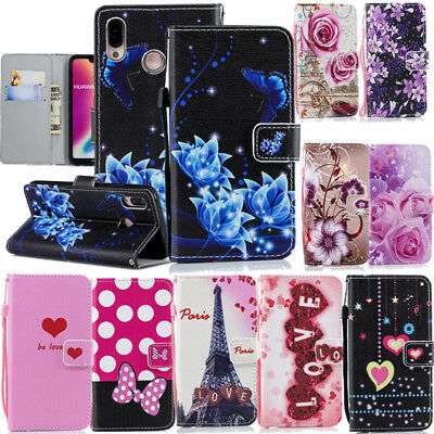 New Magnetic Flip PU Leather Card Holder Stand Case Cover For Huawei P20 Lite Y6
