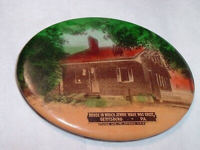 Antique Photo Pocket Mirror House Jennie Wade was Shot in Gettysburg PA