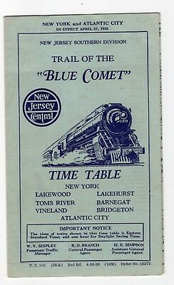1930 New Jersey Central Railroad Trail of the Blue Comet Time Table