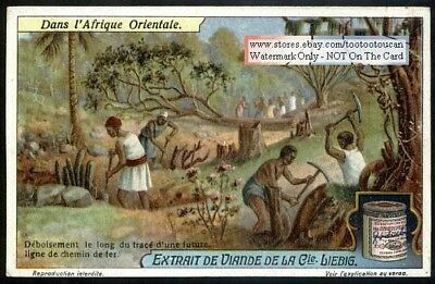 African Natives Clearing Land For Railroad  Line 1920s Trade Ad Card