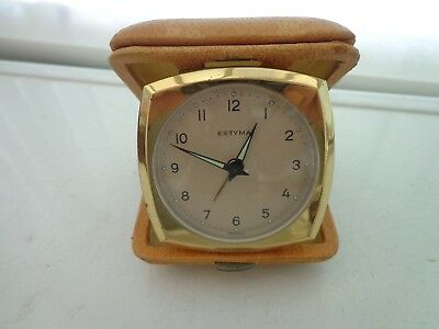 Vintage Estyma Travel Alarm Clock Tan Coloured Case Made In Germany