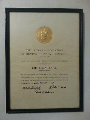 1958 Certificate Texas Association of Genito-Urinary Surgeons Charles Hooks