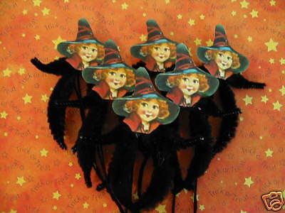 Primitive Vintage Style Halloween Witch Ornaments Chenille Feather Tree