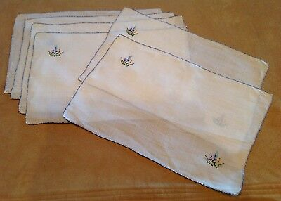 Six Placemats, Very Thin Linen, Off White, Flower And Leaf Embroidery, Multi