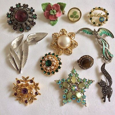 Job Lot Vintage Jewellery x 12 Brooches Glass Diamanté AB Enamel Marcasite