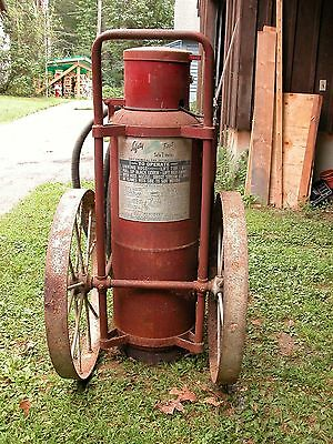 Vintage Wheeled Fire Extinguisher  Industrial Fire Fighting Historical  Safety