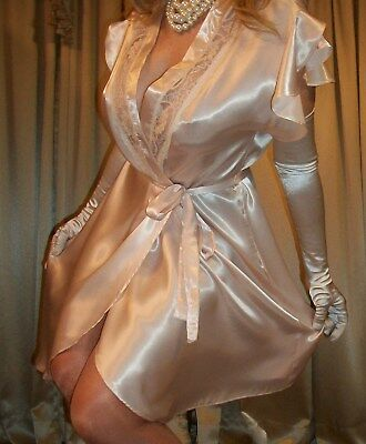 Vtg Lily of France Lace Glossy Satin Flutter Nightgown Wrap Robe Lingerie L