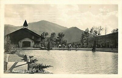1947 Bicycling At Sun Valley Lodge, Sun Valley, Idaho Real Photo Postcard/RPPC