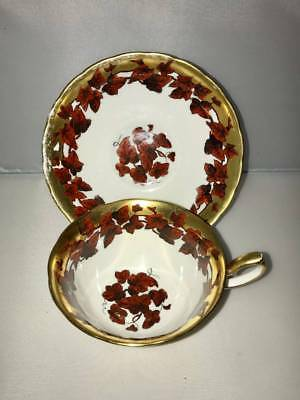 Vintage Royal Chelsea China Tea Cup & Saucer Autumn Leaves Gold Gilt On Ivory