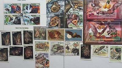 25 Different Bats on Stamps Collection