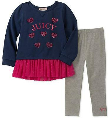 Juicy Couture Girls Navy Tunic & Legging Set Size 2T 3T 4T 4 5 6 6X 7 8/10 12
