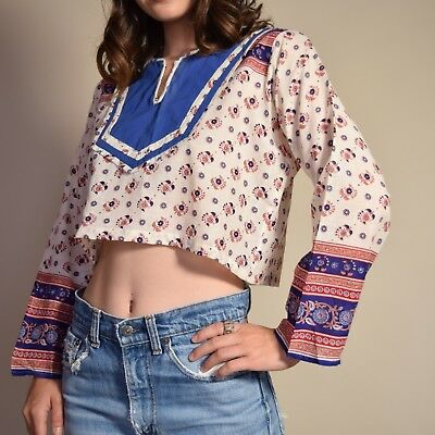Vtg 70s cotton gauze ornate paisley INDIA cropped PEASANT bell slv hippie blouse
