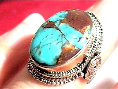 Natural turquoise 925 Sterling Silver Ring 5 INDIAN LONG COMPLEX golden veins
