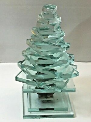 Stacked GLASS CHRISTMAS TREE Figurine Layer Paperweight Statue Recycled Modern