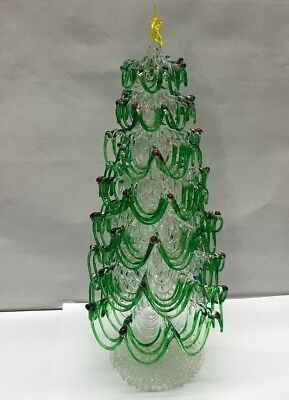 VTG Enesco GLASS Decorated CHRISTMAS TREE Figurine Table Centerpiece gold star