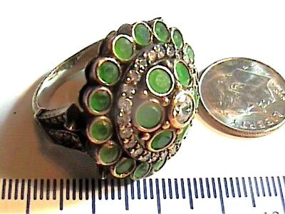 Vintage Antique  Emerald Silver Ring 6.75 Medieval Round Sapphire Sterling 925