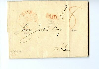 USA Stampless Cover 1813 Boston>Salem MA on the Sale of Cargo and ship Alexander