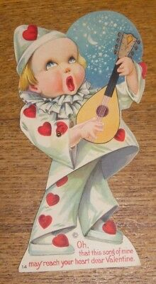 Vintage Stecher Litho Valentines Day Card - Child Singing w/ Moveable Hand