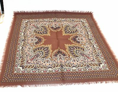 Ladies Vintage LIBERTY Brown Multi Patterned Square Scarf  - M17