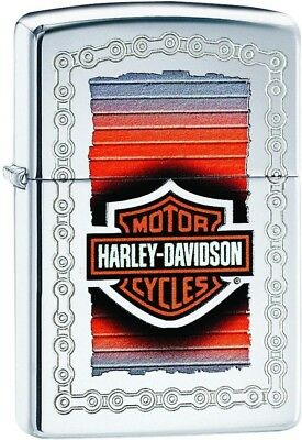 Zippo Harley Davidson Sunset with Chain HP Chrome Windproof Lighter 29559 NEW