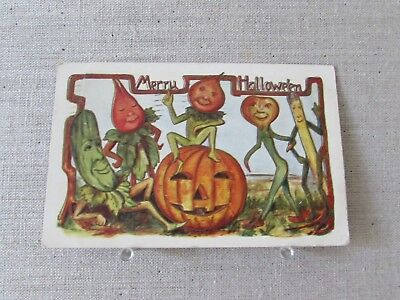 1909 Vintage Halloween Postcard Pumpkin Dancing Vegetable Elves Embossed