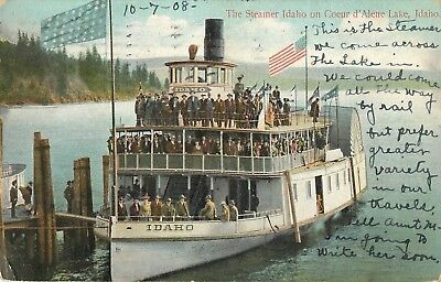 1908 Steamer Idaho, Lake Coeur d'Alene, Idaho Postcard