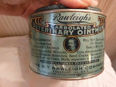 VINTAGE Rawleigh's Veterinary Ointment Large Metal Tin w Contents Advertising
