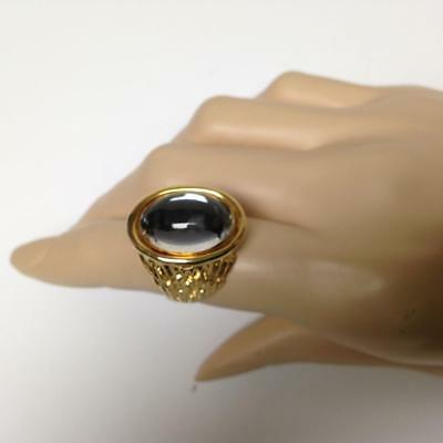 Vintage, Rare, Stamped Hobe Gold Tone, Sensuous Stone Adjustable Ring w/ Tag
