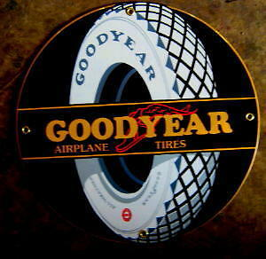 Goodyear Airplane Tires Porcelain Sign   Nr