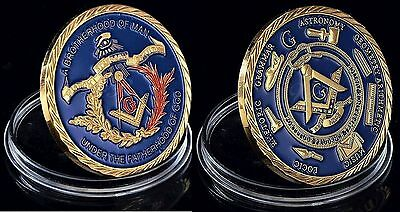 Medaille Freimaurer Freemason Brotherhood Of Man 24 Karat Gold plattiert Symbole