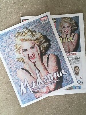 New UK Madonna At 60 The Sun Newspaper Cover Clippings 16th August 2018