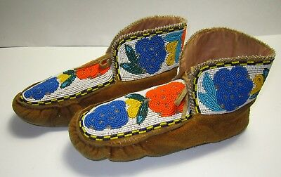 Old Midwest Native American Indian Beaded Moccasins