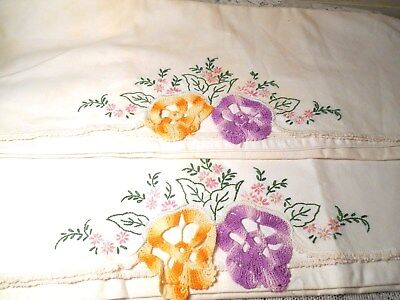 Vintage Hand Embroidered & Crocheted Pansy Cotton Pillowcases