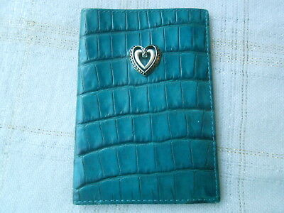 Brighton Green Leather Moc Croc Business Card Case Silver Heart GUC Free Ship