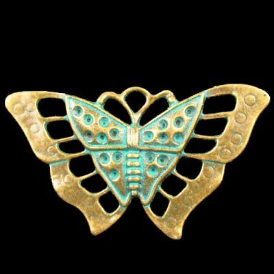 F42229 Carved Brass Bronze Butterfly Pendant Bead 56x31x4mm