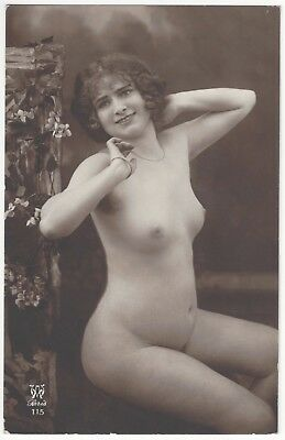 1920 French NUDE Photograph - Very Youthful w/ Curly Dark Hair