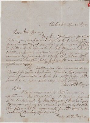 1850 Chillicothe Oh Letter From A Texas Woman Promoting Her Lecture Tour