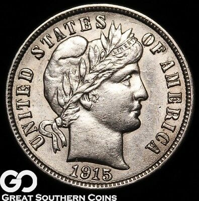 1915 Barber Dime, Nice Lustrous Silver Dime