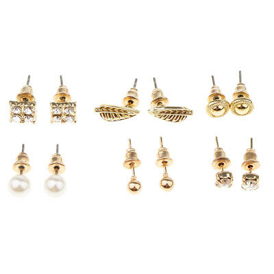 6 Paar Mode Perle Kristall Strass Gold Ohrstecker Ohrringe Jewelelry