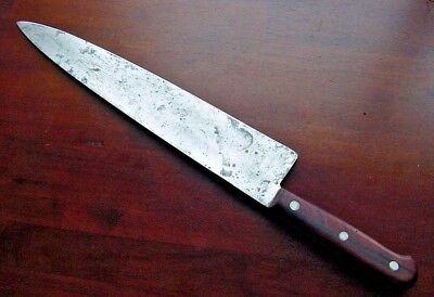 "Old Dexter 12"" Carbon Steel CHEF KNIFE Vintage No Bolster Thin Kitchen Antique"