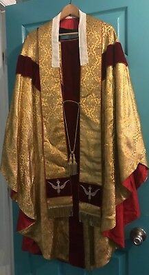 Stunning Rare Vintage Catholic Priests Gold Brocade Chasuble & Stole France