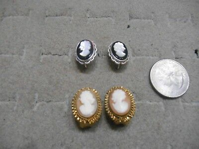 Vintage Antique Pair Of 2 Sets Cameo Clip Earrings,1 Gold Filled,1 Krementz