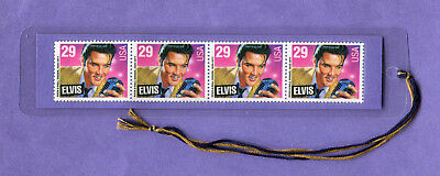 ELVIS- NEW! LAMINATED BOOKMARK w/ REAL U. S. POSTAGE STAMPS!