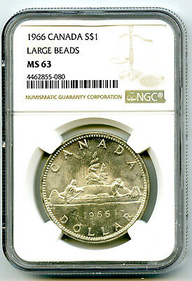 1966 $1 Canada Silver Dollar Ngc Ms63 Large Beads Voyageur - Ms Uncirculated