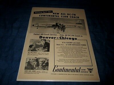 CONTINENTAL AIRLINES-NEW ALL DC-78 CLUB COACH-DENVER-CHICAGO-1950s ERA PRINT AD