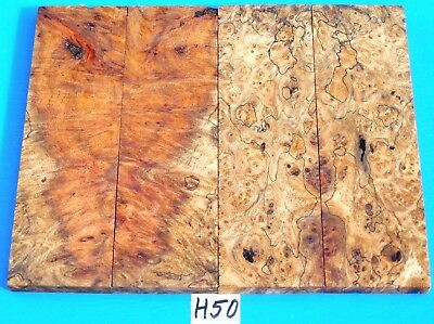 2 Pairs Fancy Spalted Golden Amboyna Burl Knife Scales~Exotic Wood Lumber