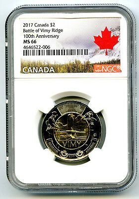 2017 Canada $2 Ngc Ms66 Battle Of Vimy Ridge 100Th Anniversary High Grade Toonie
