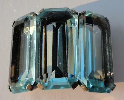 Antique Art Deco France HUGE Blue Crystal Rhinestone Buckle-French